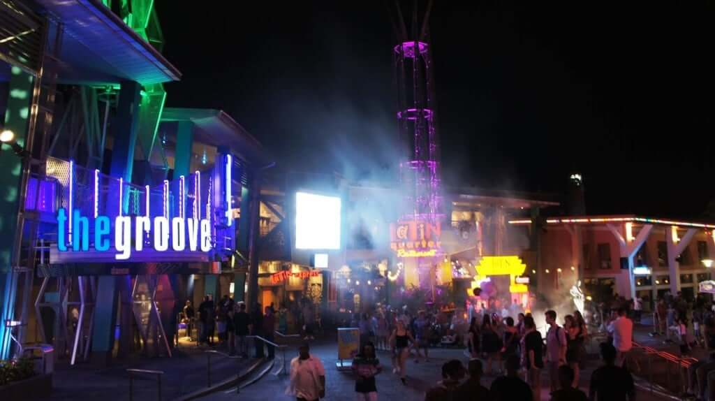 Universal CityWalk Orlando at night.