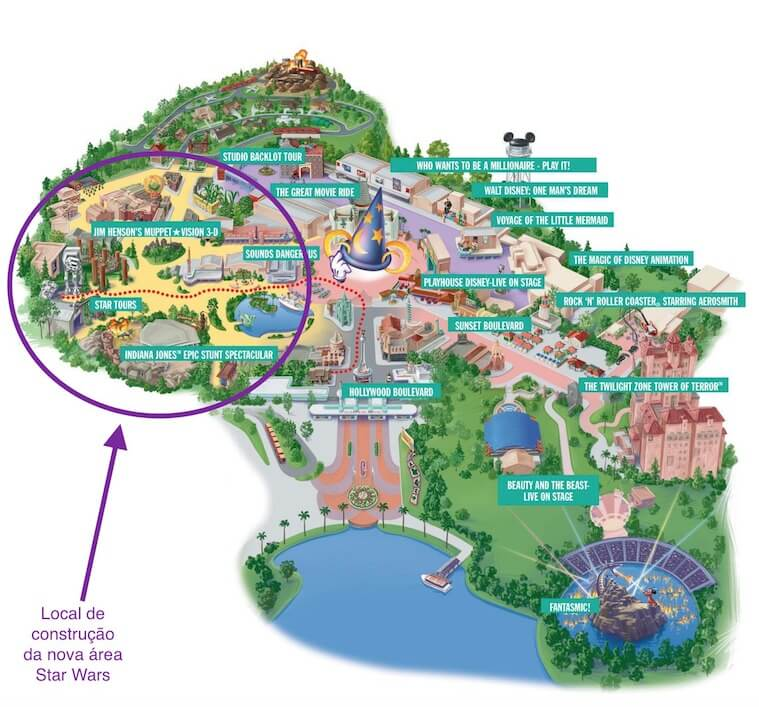 Mapa do Parque Hollywood Studios da Disney Orlando