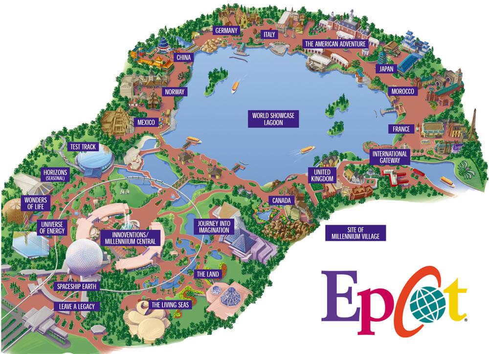 Como é dividido o Parque Epcot em Orlando