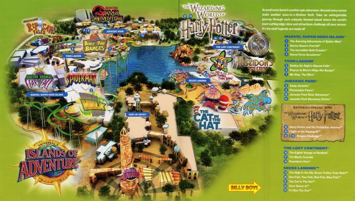 Mapa do Parque Islands of Adventure Orlando
