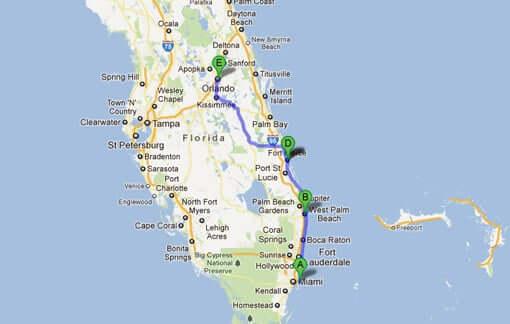 Viagem de carro de Orlando a Miami: mapa