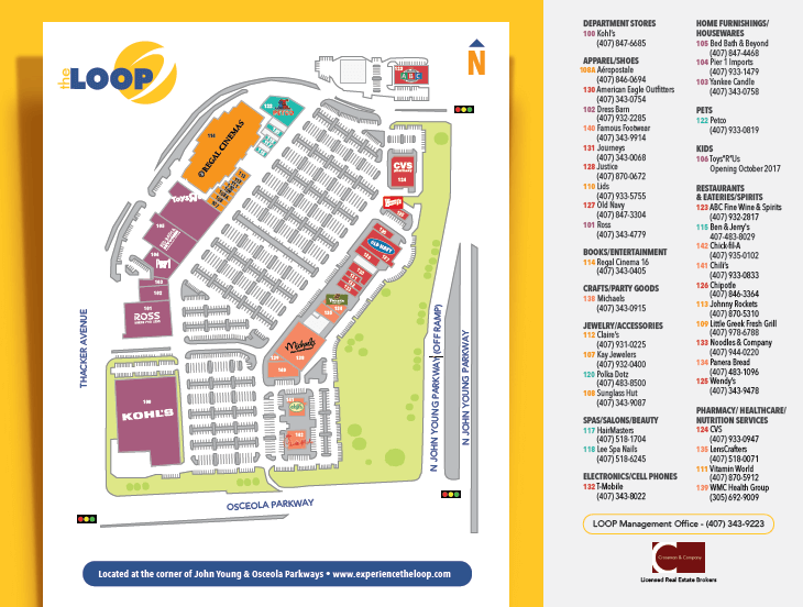 Outlets The Loop e The Loop West Kissimmee em Orlando: mapa