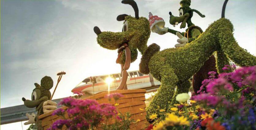 Flower and Garden Festival no Parque Epcot Orlando: Pluto, Pateta e Mickey