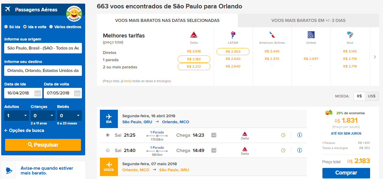 Quanto custa uma passagem aérea para Orlando