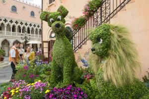 Flower and Garden Festival no Parque Epcot Orlando: a Dama e o Vagabundo