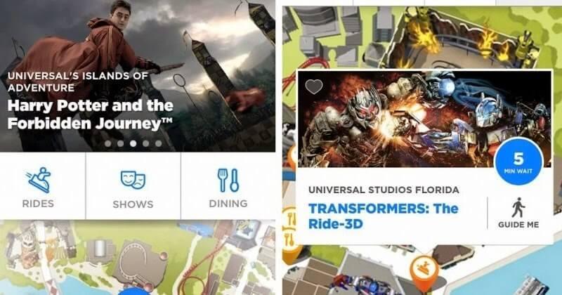 Aplicativo da Universal Orlando para os parques: aplicativo por dentro