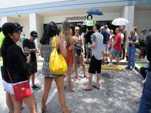 ORLANDO, FLORIDA - JUNE 12:  Long lines of people wait at the OneBlood Donation Center to donate blood for the injured victims of the Pulse nightclub shooting on June 12, 2016 in Orlando, Florida. The suspected shooter, Omar Mateen, was shot and killed by police. 50 people are reported dead and 53 were injured in what is now the worst mass shooting in U.S. history. (Photo by Gerardo Mora/Getty Images)