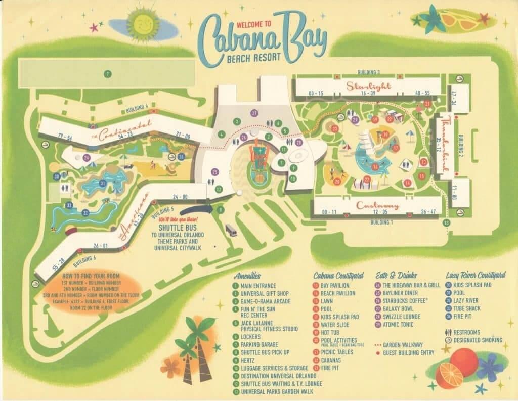 Hotel Cabana Bay Beach Resort da Universal em Orlando: mapa do hotel