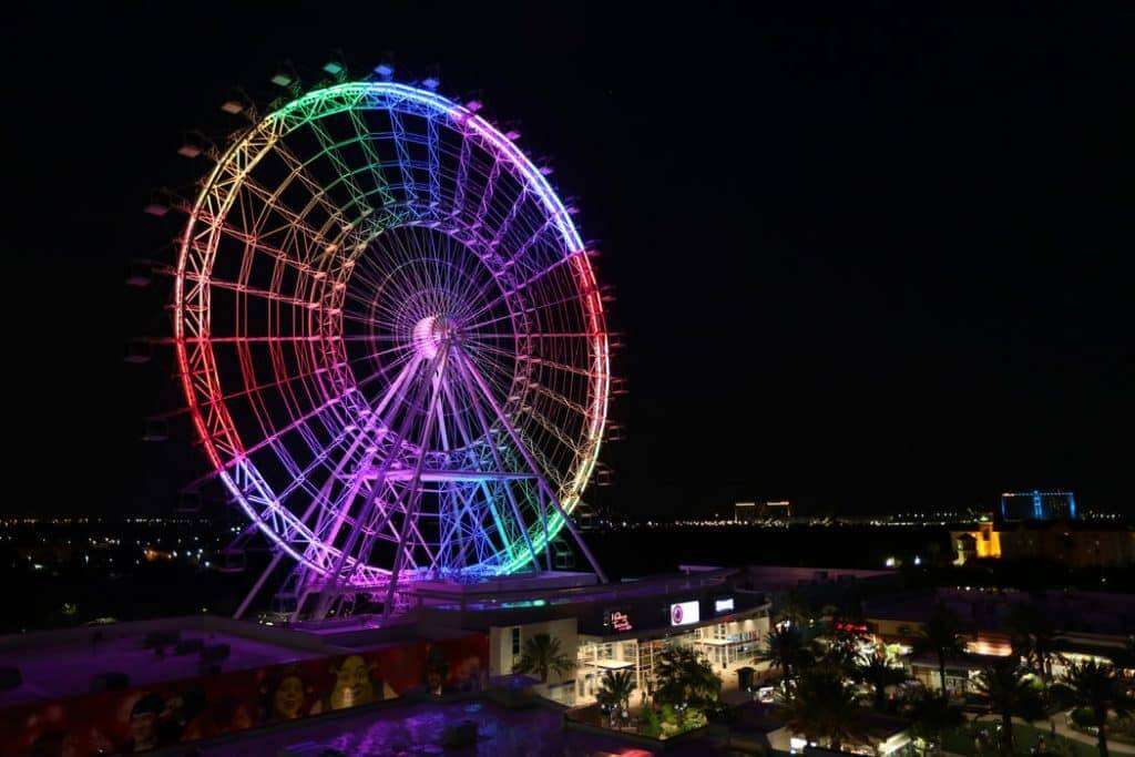 The Orlando Eye observation wheel lights up in rainbow colors to remember the people killed and injured in the Pulse nightclub shooting on Sunday, June 12, 2016. (Joshua Lim/Orlando Sentinel/TNS via Getty Images)