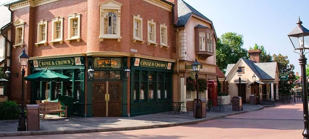 Pavilhão e área do Reino Unido no Disney Epcot em Orlando
