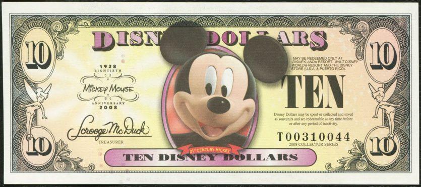 Notas de 100 dólares em Orlando: dólares da Disney