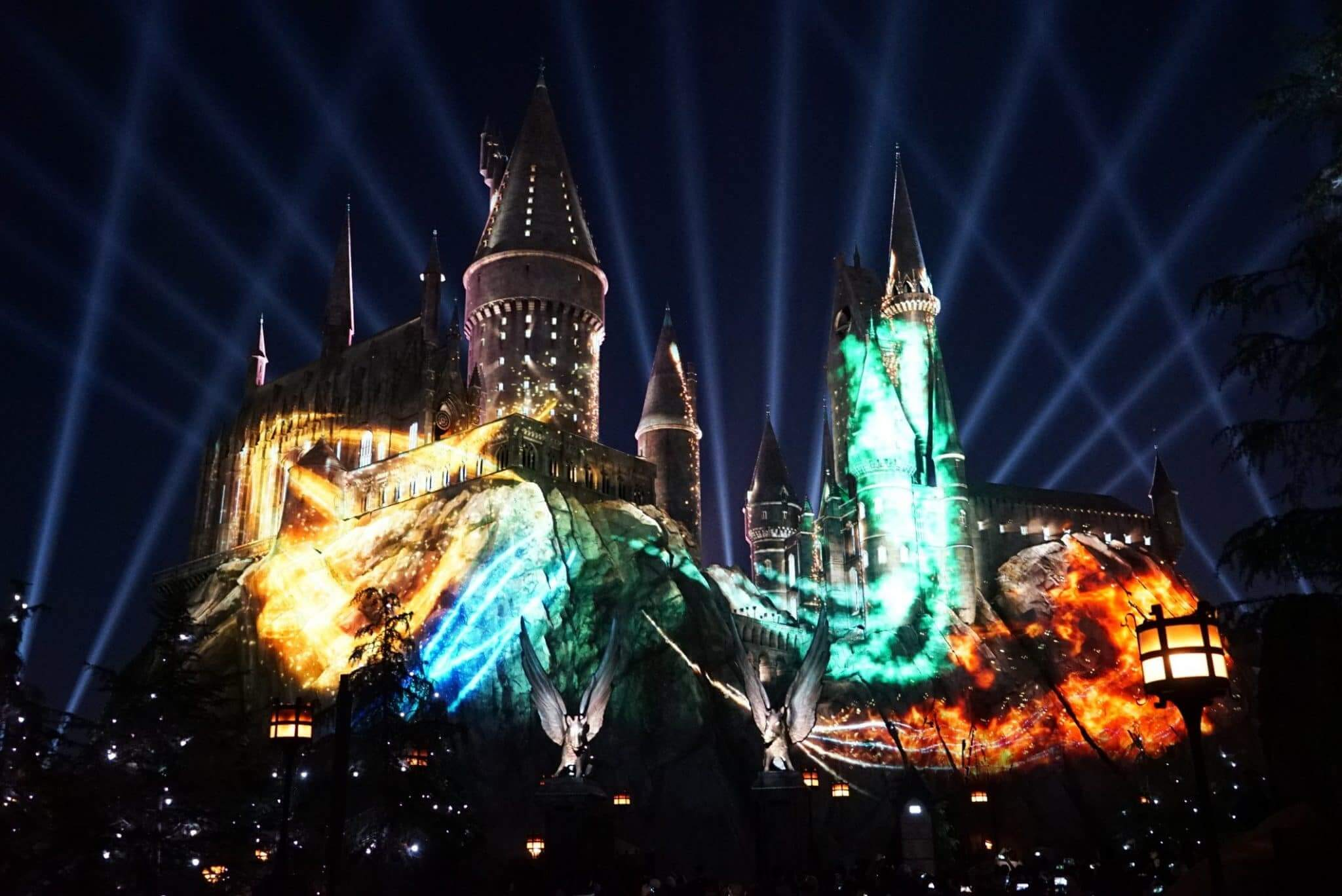 Show noturno do Harry Potter na Universal Orlando: The Nighttime Lights at Hogwarts Castle no Islands of Adventure